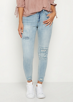 Light Blue Destroyed & Patched Jegging in Curvy