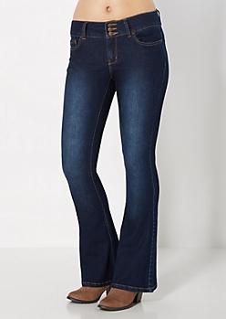 3-Shank Sandblasted Flare Jean in Curvy