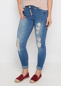 Flex Destroyed High Waist Jegging in Curvy