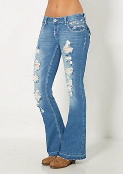 Destroyed Sandblasted Flare Jean in Curvy