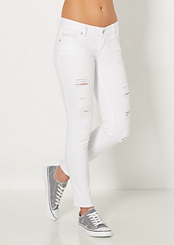 White Ripped Skinny Jean in Curvy