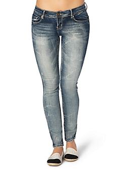 Dark Blue Sandblasted Skinny Jean In Curvy