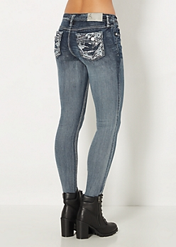 Geo Faux Leather Sequined Skinny Jean in Curvy