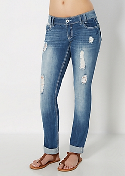 Distressed Cuffed Skinny Jean in Curvy
