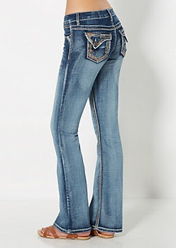 Sandblasted & Embroidered Flare Jean in Curvy