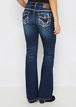 Distressed Stone Shimmer Boot Jean in Curvy