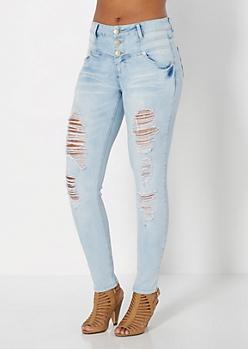 Light Blue Destroyed High Waist Skinny Jean in Curvy