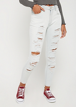 Destroyed High Rise Ankle Jegging in Curvy