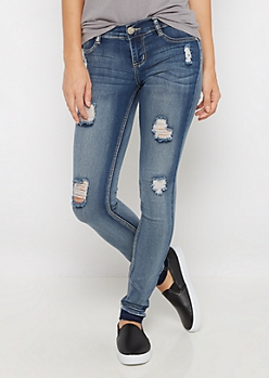 Distressed Released Cuff Jegging in Curvy