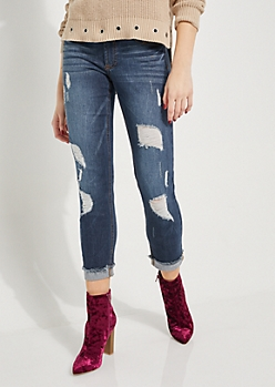 Dark Blue Destroyed & Cuffed Ankle Jegging in Curvy