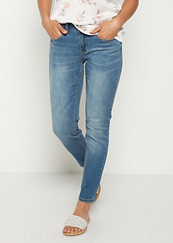 Washed Blue Skinny Jean in Short