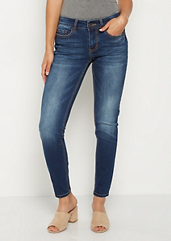 Dark Blue Washed Skinny Jean in Short