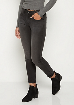 Black Sandblasted Skinny Pant in Long