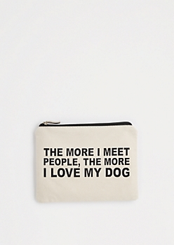 I Love My Dog Canvas Makeup Bag