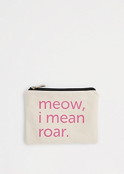 Meow Canvas Makeup Bag