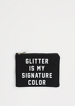 Glitter Is My Signature Canvas Makeup Bag