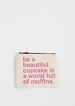 Beautiful Cupcake Canvas Makeup Bag