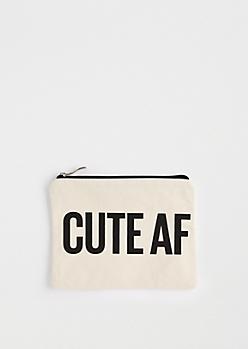 Cute AF Canvas Makeup Bag
