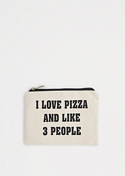 I Love Pizza Canvas Makeup Bag