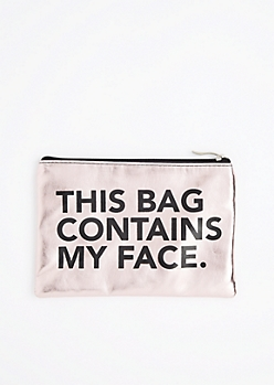 Contains My Face Metallic Makeup Bag
