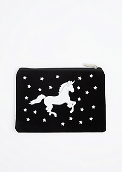 Prancing Unicorn Velvet Makeup Bag
