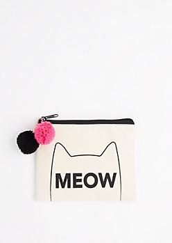 Meow Pom Pom Canvas Makeup Bag