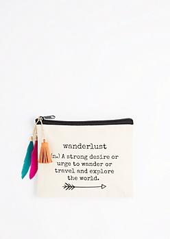 Wanderlust Feather Drop Makeup Bag