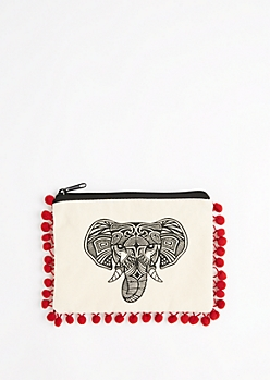 Tribal Elephant Canvas Makeup Bag