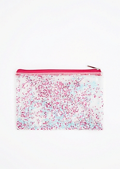 Pink & Blue Star Glitter Makeup Bag