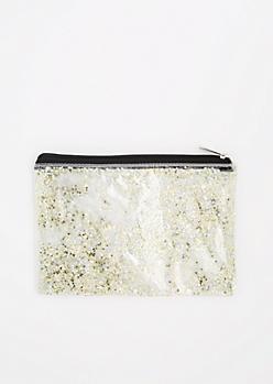 Gold Star Glitter Makeup Bag