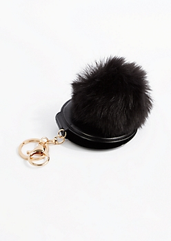 Black Pom Mirror Handbag Charm