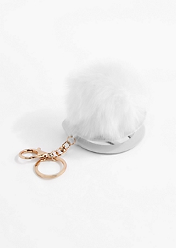 White Pom Mirror Handbag Charm