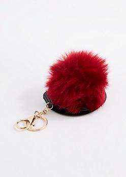 Burgundy Pom Mirror Handbag Charm