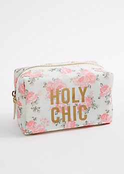 White Floral Print Makeup Bag