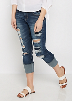 Dark Destroyed Mid Rise Cropped Jean in Curvy