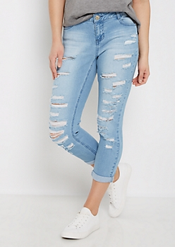 Torn & Sandblasted Cropped Jean in Curvy