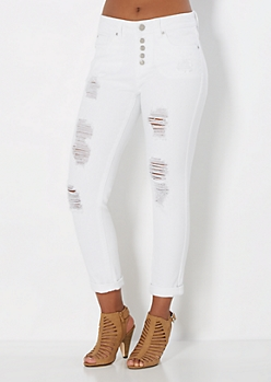 Ripped Twill High Waisted Crops in Curvy