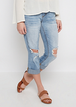 Ripped Up Cuffed & Cropped Jean in Curvy