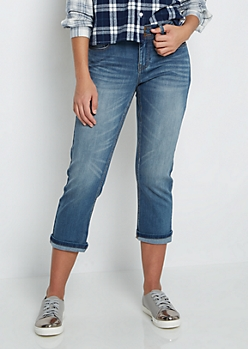 Sandblasted Cropped Skinny Jean in Curvy