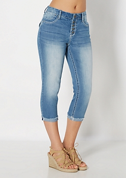 Distressed Cuffed Jean Capri in Curvy