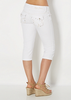 White Embellished Jean Crops in Curvy