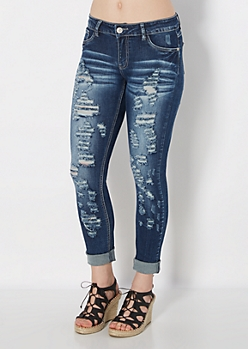 Dark Wash Torn Cuffed Skinny Crops in Curvy