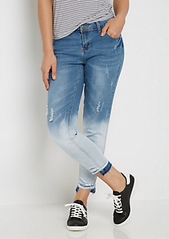 Cat Scratched Stepped Hem Cropped Jean in Curvy