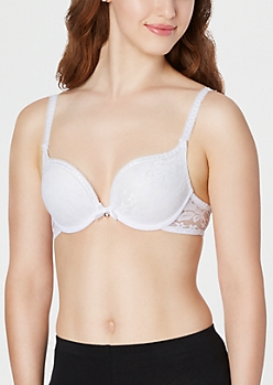 White Lace Deep Plunge Push-Up Bra