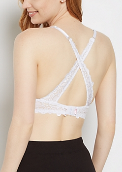 White Lace Cross-Back Demi Bra