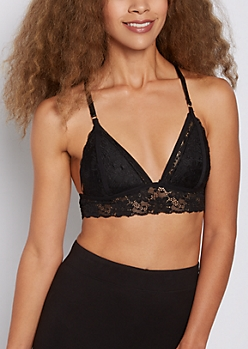 Black Lace Butterfly Caged Bralette