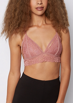 Pink Lace Butterfly Caged Bralette