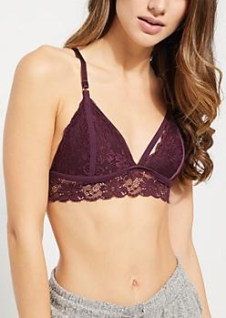 Dark Purple Butterfly Cross Strap Lace Bralette
