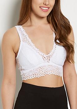White Crochet Plunge Bralette