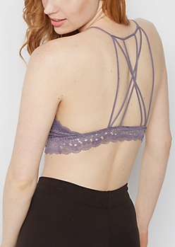 Purple Daisy Lace Caged Bralette